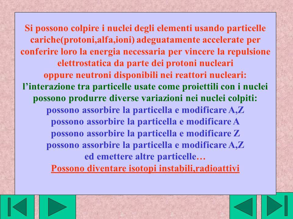Simbologia utilizzata per esempi seguenti n = protone(1,1+) p =neutrone(1,0) a = particelle alfa(4,2+) Nuclide1(A,Z) + proiettile----->Nuclide2 (A,Z)+particella X(100,40) + p ---> Y(100,41) + e- X(100,40) ---> Y(100,39) + e+ X(100,40) ---> Y(96,38) + alfa X(100,40) ---> Y(100,39) altra simbologia Nuclide1(A,Z) (proiettile,particella) Nuclide2