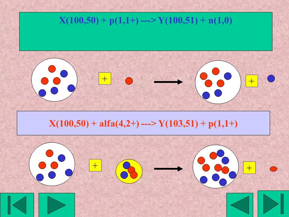 X(100,50) + p(1,1+) ---> Y(100,51) + n(1,0) + + X(100,50) + alfa(4,2+) ---> Y(103,51) + p(1,1+) + +