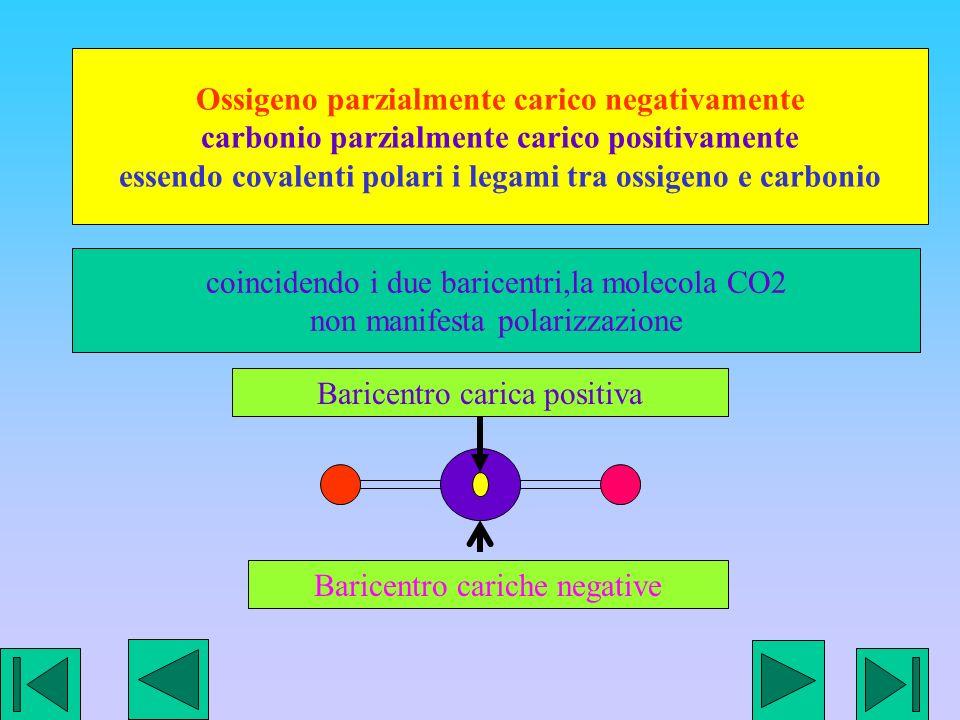 Ossigeno parzialmente carico negativamente carbonio parzialmente carico positivamente essendo covalenti polari i legami tra ossigeno e carbonio Baricentro cariche negative Baricentro carica positiva coincidendo i due baricentri,la molecola CO2 non manifesta polarizzazione