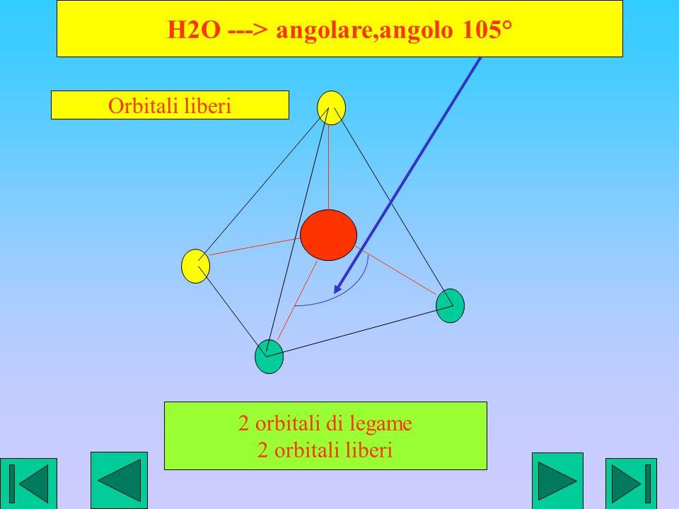 H2O ---> angolare,angolo 105° 2 orbitali di legame 2 orbitali liberi Orbitali liberi
