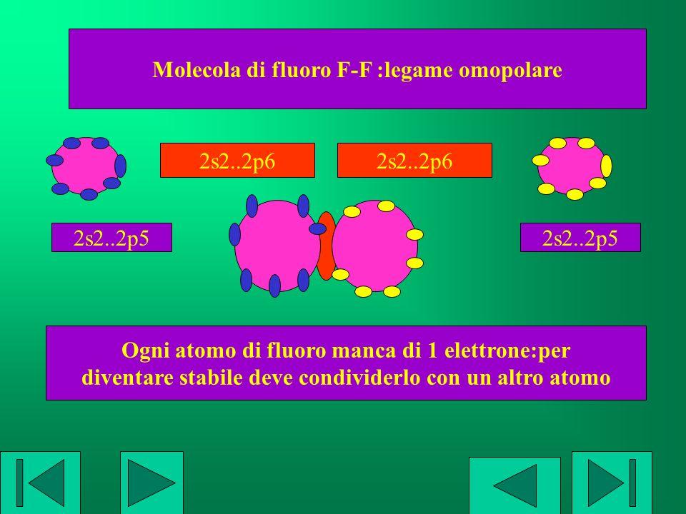 Molecola di fluoro F-F :legame omopolare Ogni atomo di fluoro manca di 1 elettrone:per diventare stabile deve condividerlo con un altro atomo 2s2..2p5