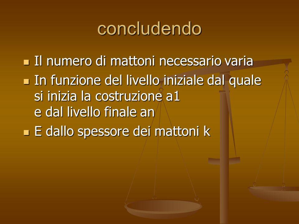 concludendo Il numero di mattoni necessario varia Il numero di mattoni necessario varia In funzione del livello iniziale dal quale si inizia la costru