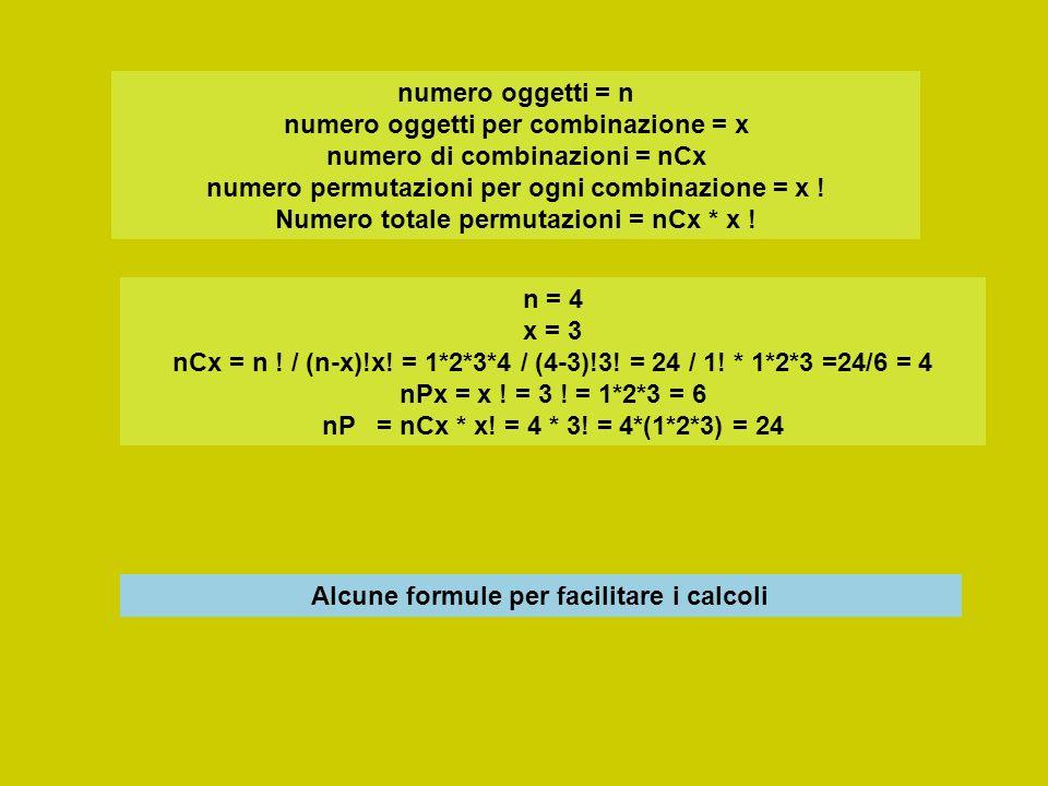 numero oggetti = n numero oggetti per combinazione = x numero di combinazioni = nCx numero permutazioni per ogni combinazione = x ! Numero totale perm