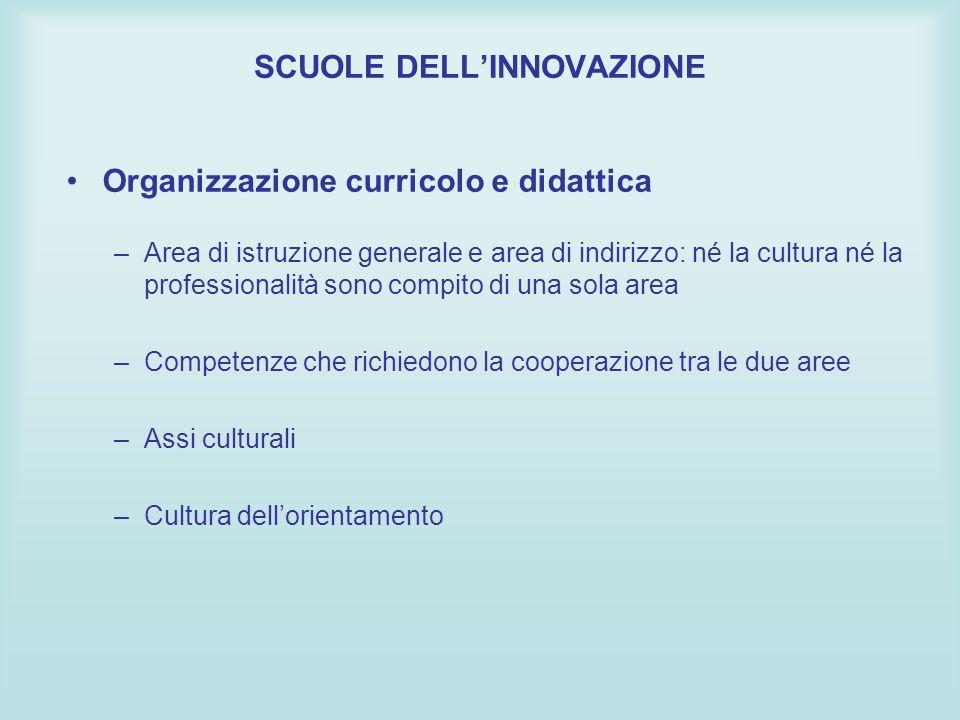 Organizzazione curricolo e didattica –Area di istruzione generale e area di indirizzo: né la cultura né la professionalità sono compito di una sola ar