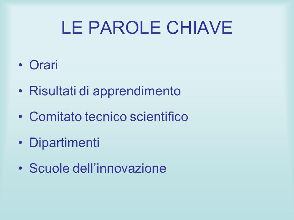 LE PAROLE CHIAVE Orari Risultati di apprendimento Comitato tecnico scientifico Dipartimenti Scuole dellinnovazione