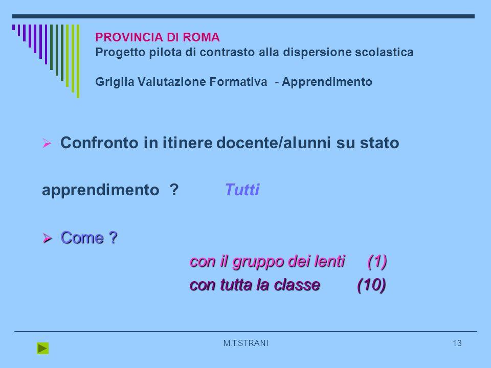 M.T.STRANI13 PROVINCIA DI ROMA Progetto pilota di contrasto alla dispersione scolastica Griglia Valutazione Formativa - Apprendimento Confronto in itinere docente/alunni su stato apprendimento .