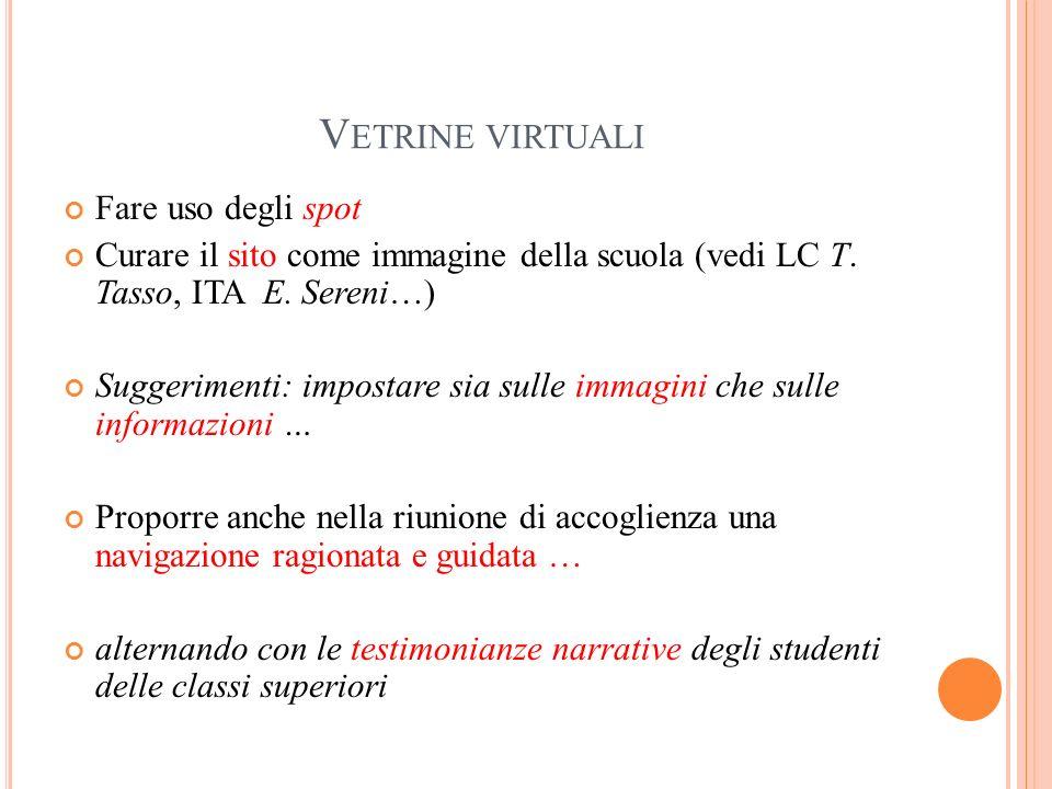 V ETRINE VIRTUALI Fare uso degli spot Curare il sito come immagine della scuola (vedi LC T.