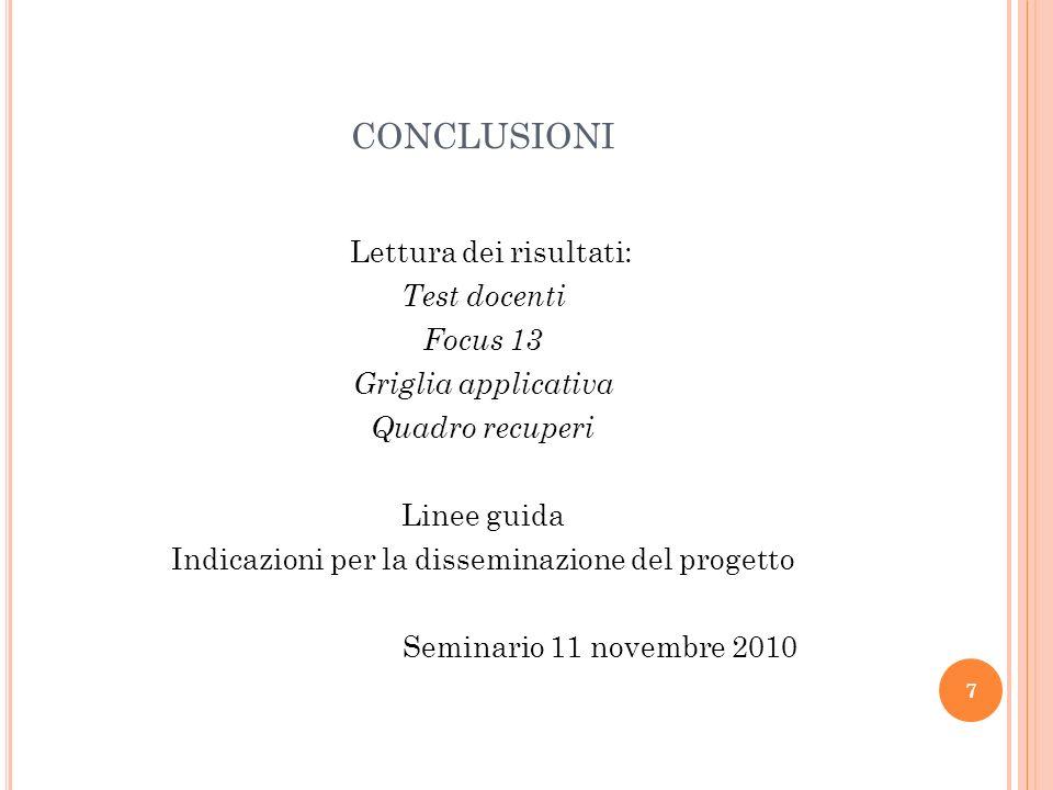 7 CONCLUSIONI Lettura dei risultati: Test docenti Focus 13 Griglia applicativa Quadro recuperi Linee guida Indicazioni per la disseminazione del progetto Seminario 11 novembre 2010