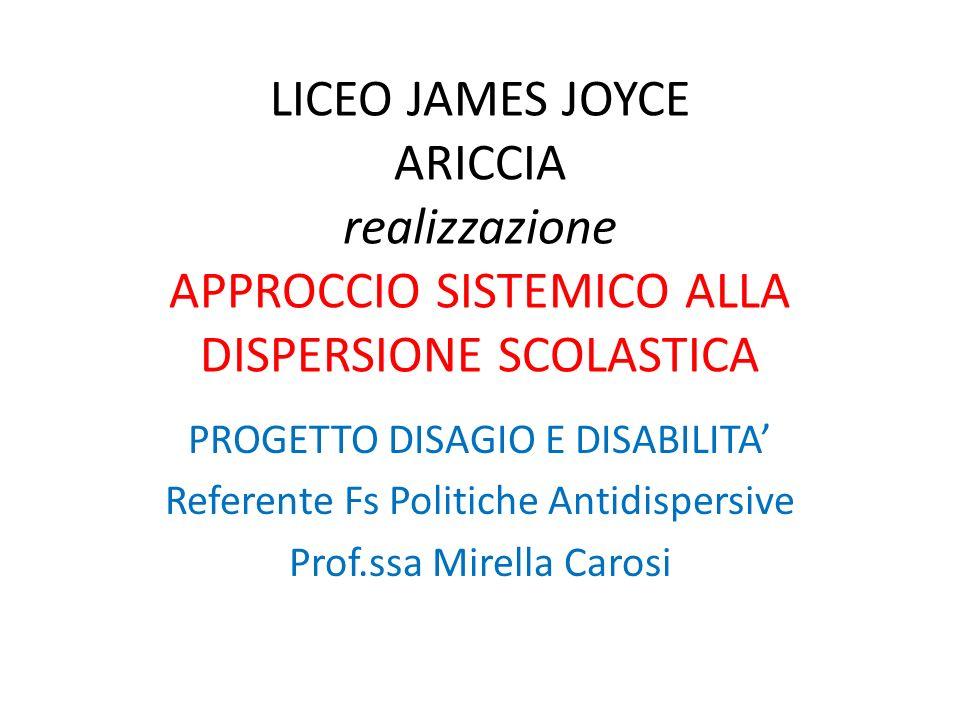 LICEO JAMES JOYCE ARICCIA realizzazione APPROCCIO SISTEMICO ALLA DISPERSIONE SCOLASTICA PROGETTO DISAGIO E DISABILITA Referente Fs Politiche Antidispe