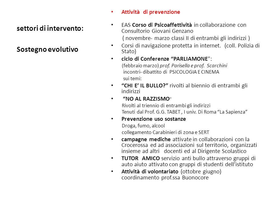 settori di intervento: Attività di prevenzione EAS Corso di Psicoaffettività in collaborazione con Consultorio Giovani Genzano ( novembre- marzo classi II di entrambi gli indirizzi ) Corsi di navigazione protetta in internet.