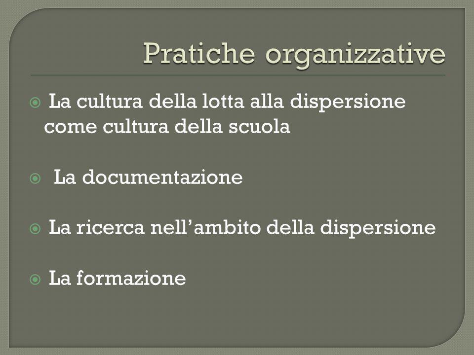 La cultura della lotta alla dispersione come cultura della scuola La documentazione La ricerca nellambito della dispersione La formazione