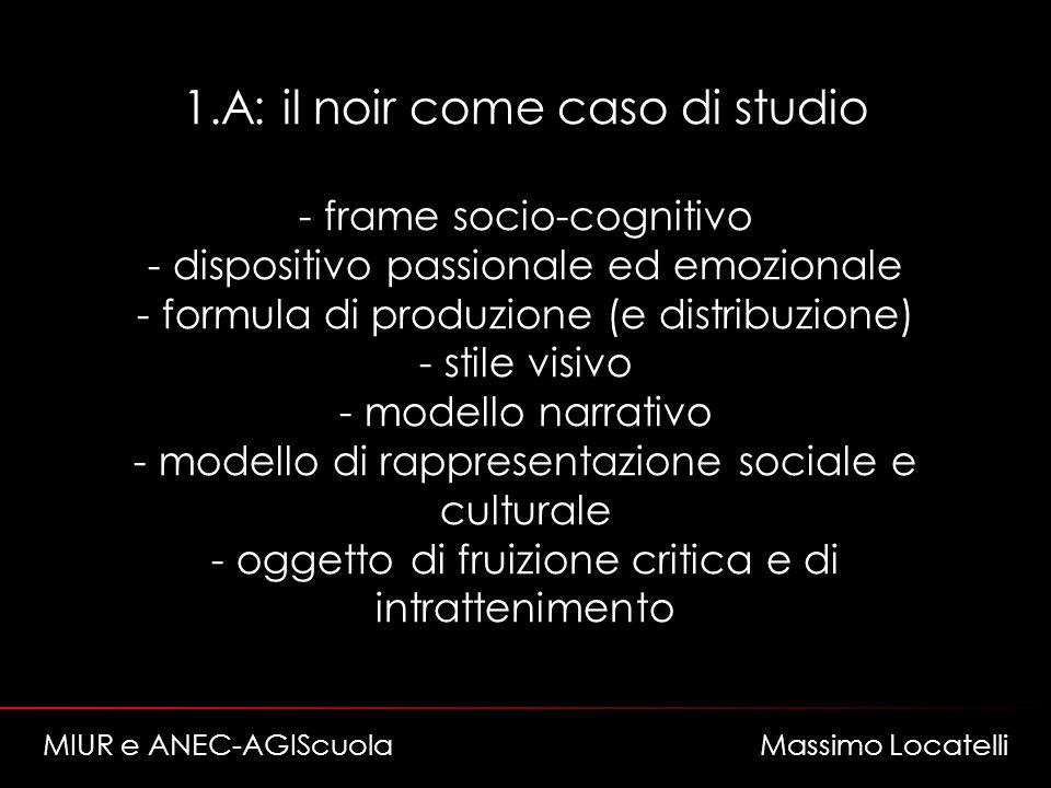 1.A: il noir come caso di studio - frame socio-cognitivo - dispositivo passionale ed emozionale - formula di produzione (e distribuzione) - stile visivo - modello narrativo - modello di rappresentazione sociale e culturale - oggetto di fruizione critica e di intrattenimento MIUR e ANEC-AGIScuola Massimo Locatelli