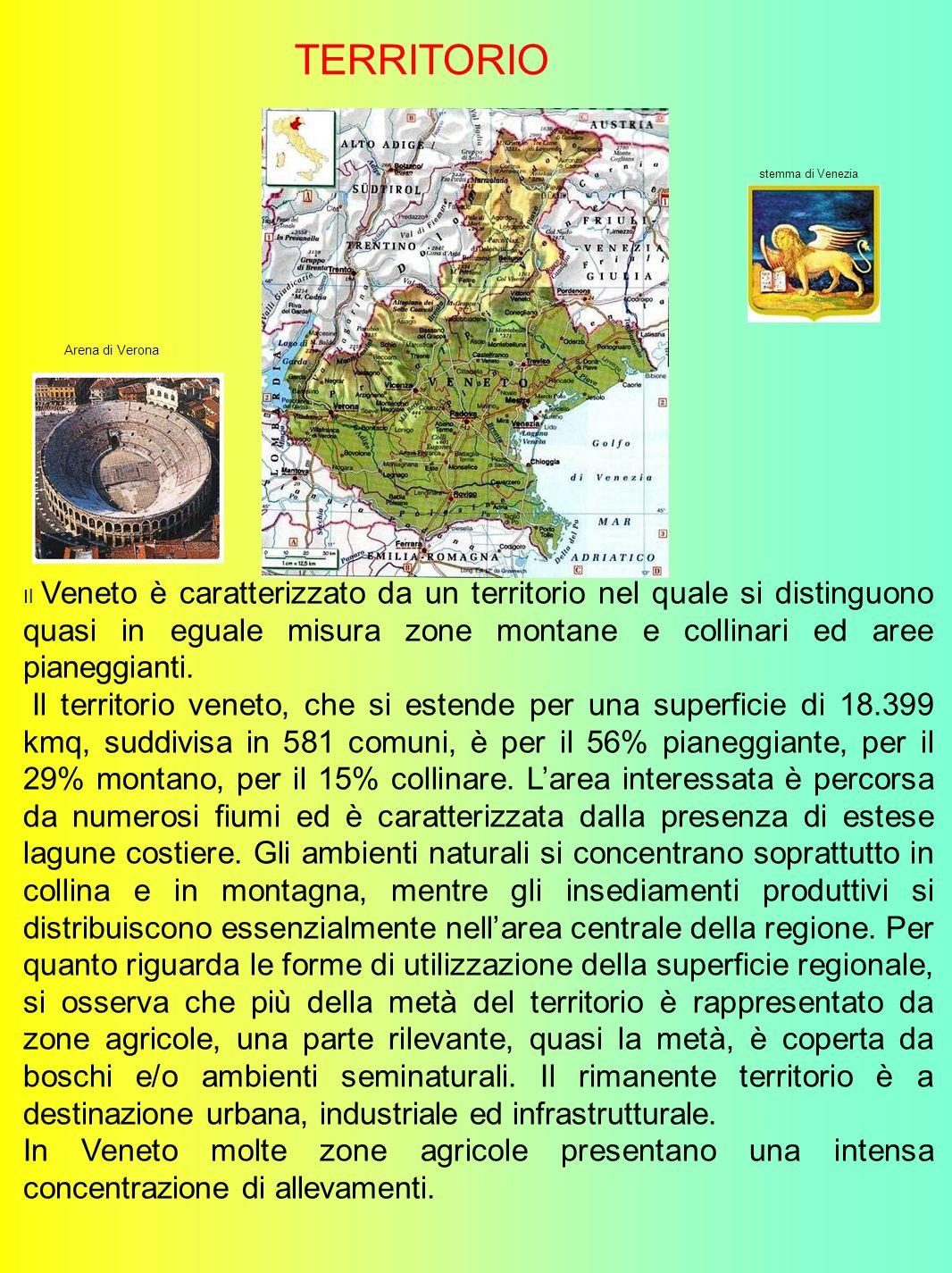 Il Veneto è caratterizzato da un territorio nel quale si distinguono quasi in eguale misura zone montane e collinari ed aree pianeggianti.