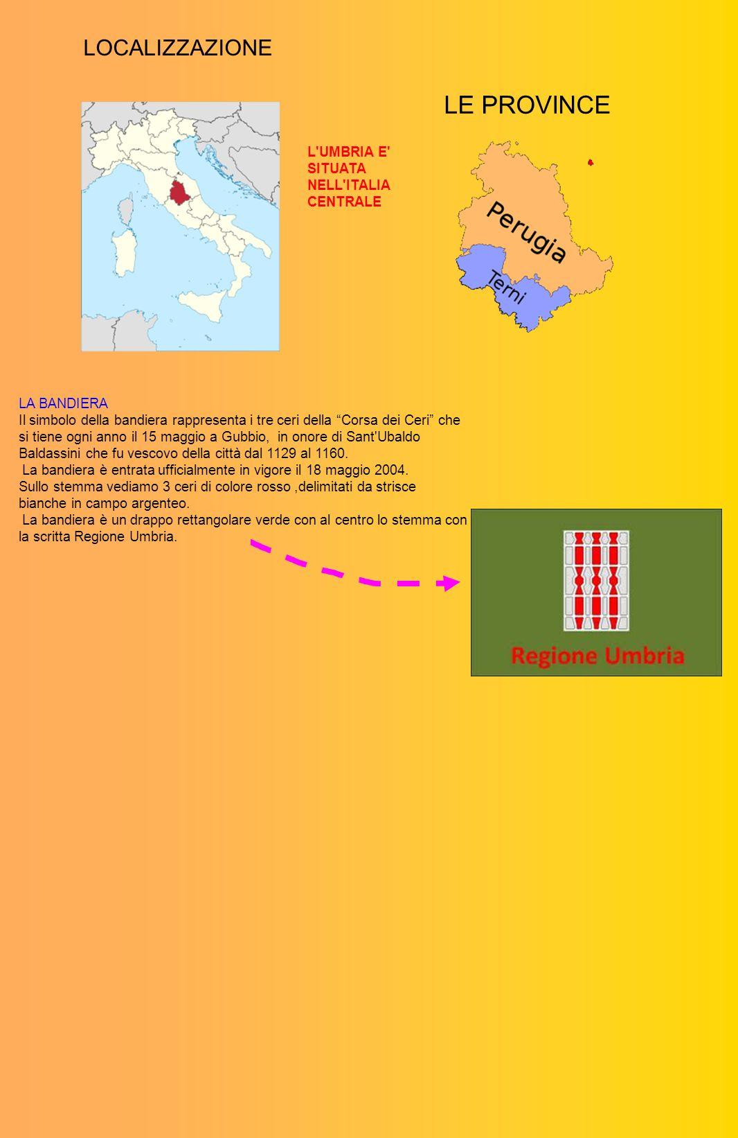 LOCALIZZAZIONE LE PROVINCE LA BANDIERA Il simbolo della bandiera rappresenta i tre ceri della Corsa dei Ceri che si tiene ogni anno il 15 maggio a Gub