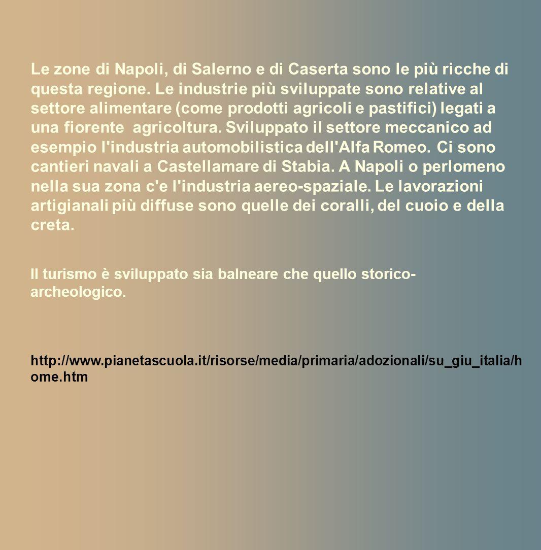 Le zone di Napoli, di Salerno e di Caserta sono le più ricche di questa regione. Le industrie più sviluppate sono relative al settore alimentare (come