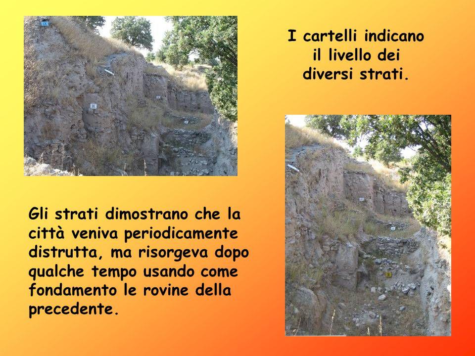 Lo schema presenta i nove strati della città emersi in seguito agli scavi archeologici.