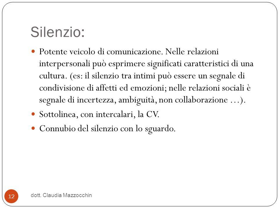 Silenzio: Potente veicolo di comunicazione. Nelle relazioni interpersonali può esprimere significati caratteristici di una cultura. (es: il silenzio t