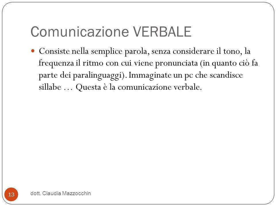 Comunicazione VERBALE Consiste nella semplice parola, senza considerare il tono, la frequenza il ritmo con cui viene pronunciata (in quanto ciò fa par
