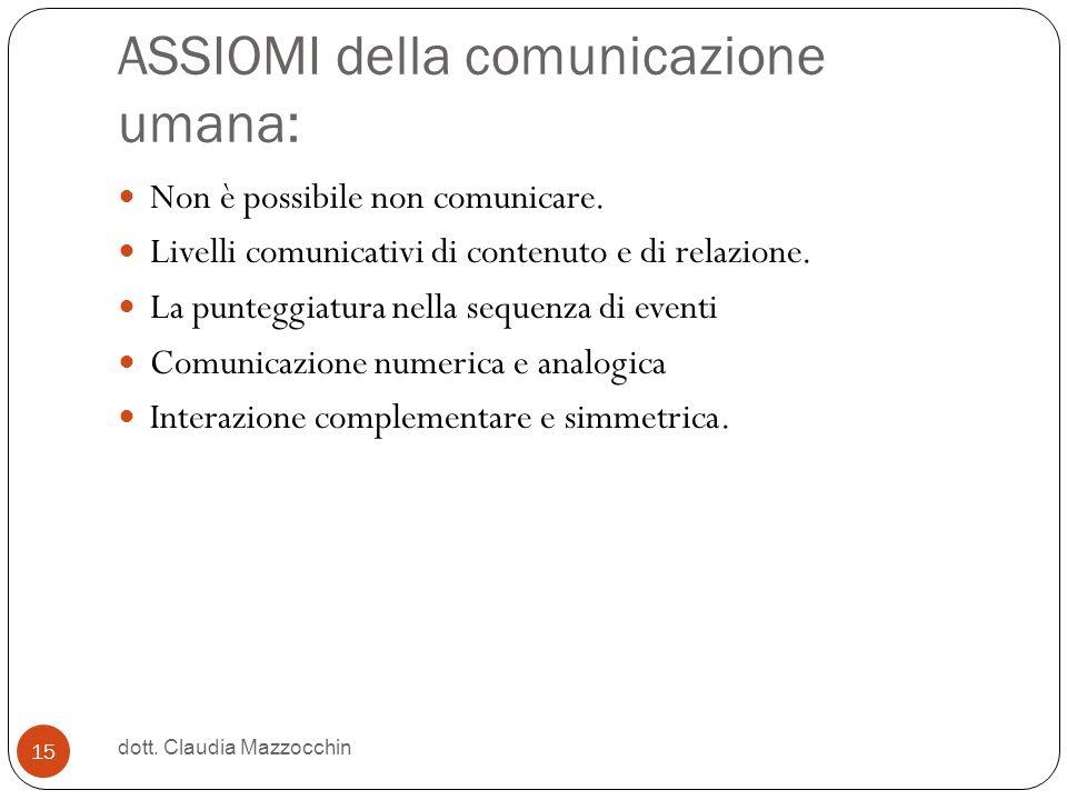 ASSIOMI della comunicazione umana: Non è possibile non comunicare. Livelli comunicativi di contenuto e di relazione. La punteggiatura nella sequenza d