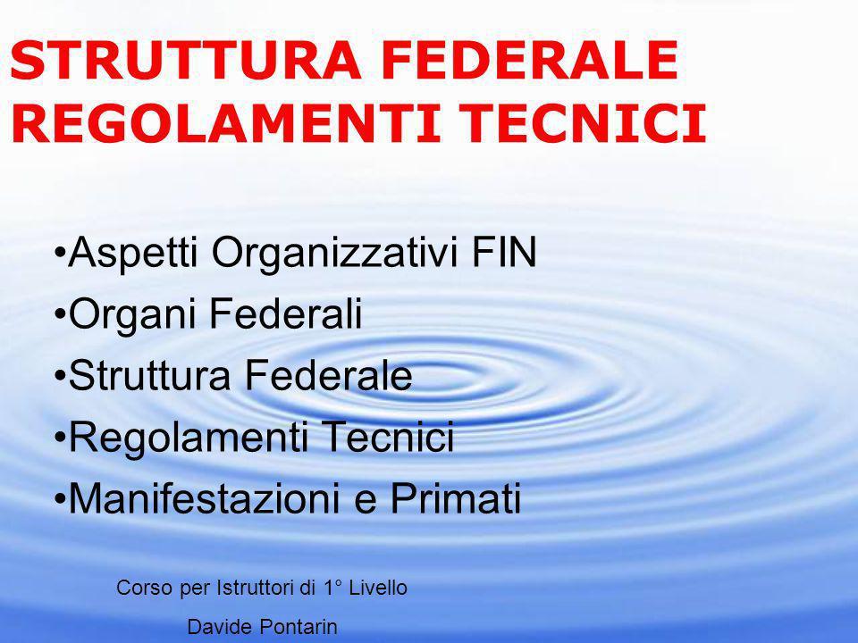 Aspetti Organizzativi FIN Organi Federali Struttura Federale Regolamenti Tecnici Manifestazioni e Primati STRUTTURA FEDERALE REGOLAMENTI TECNICI Corso