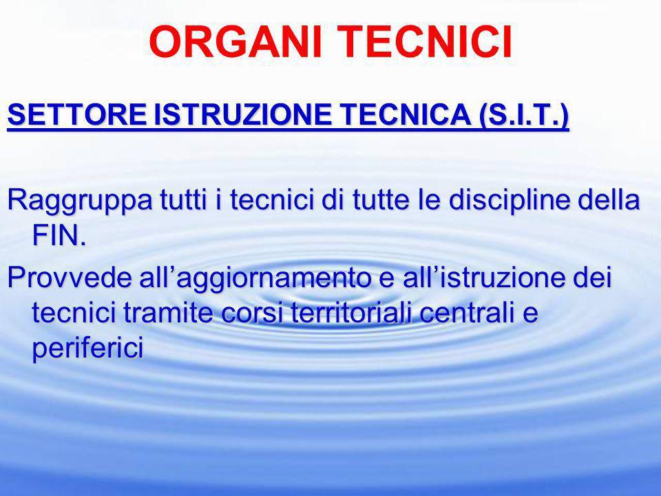 ORGANI TECNICI SETTORE ISTRUZIONE TECNICA (S.I.T.) Raggruppa tutti i tecnici di tutte le discipline della FIN. Provvede allaggiornamento e allistruzio