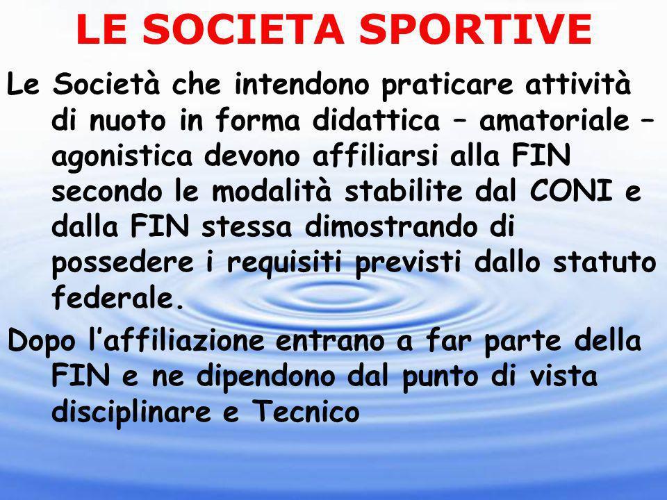 LE SOCIETA SPORTIVE Le Società che intendono praticare attività di nuoto in forma didattica – amatoriale – agonistica devono affiliarsi alla FIN secon