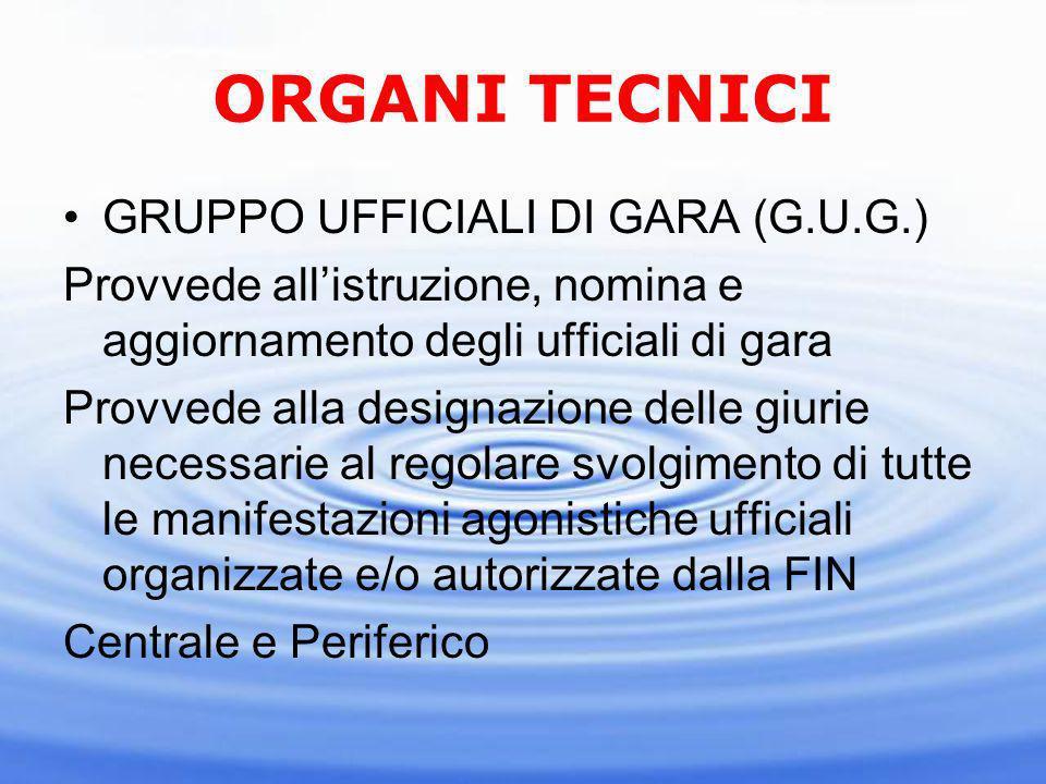 ORGANI TECNICI SETTORE ISTRUZIONE TECNICA (S.I.T.) Raggruppa tutti i tecnici di tutte le discipline della FIN.
