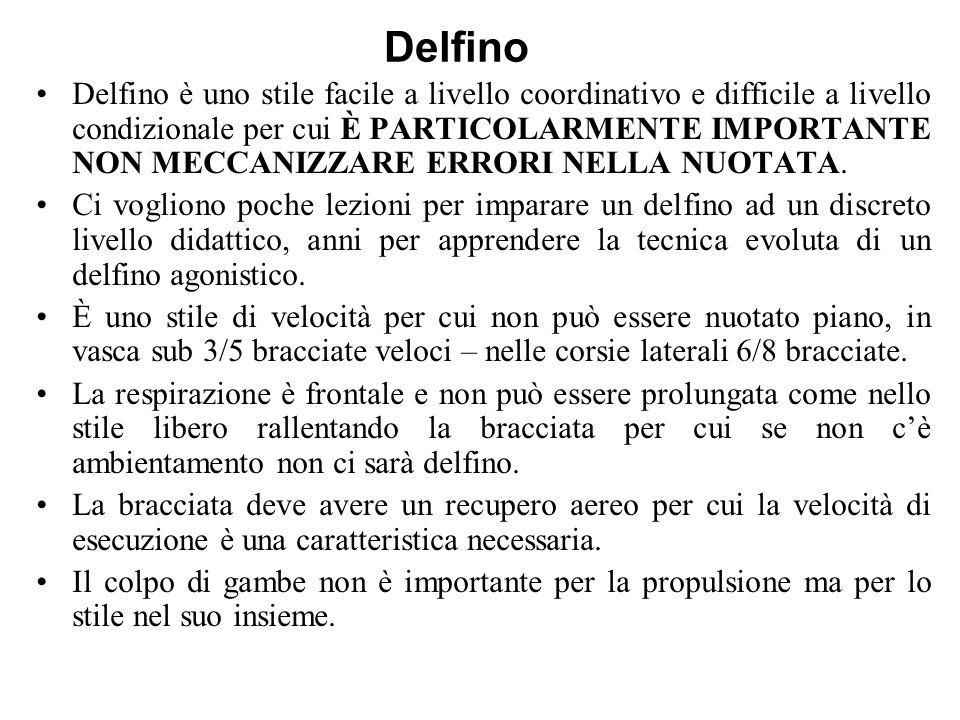 Delfino Delfino è uno stile facile a livello coordinativo e difficile a livello condizionale per cui È PARTICOLARMENTE IMPORTANTE NON MECCANIZZARE ERR