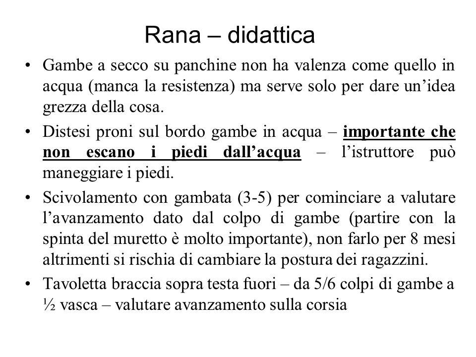 Rana – didattica Gambe a secco su panchine non ha valenza come quello in acqua (manca la resistenza) ma serve solo per dare unidea grezza della cosa.