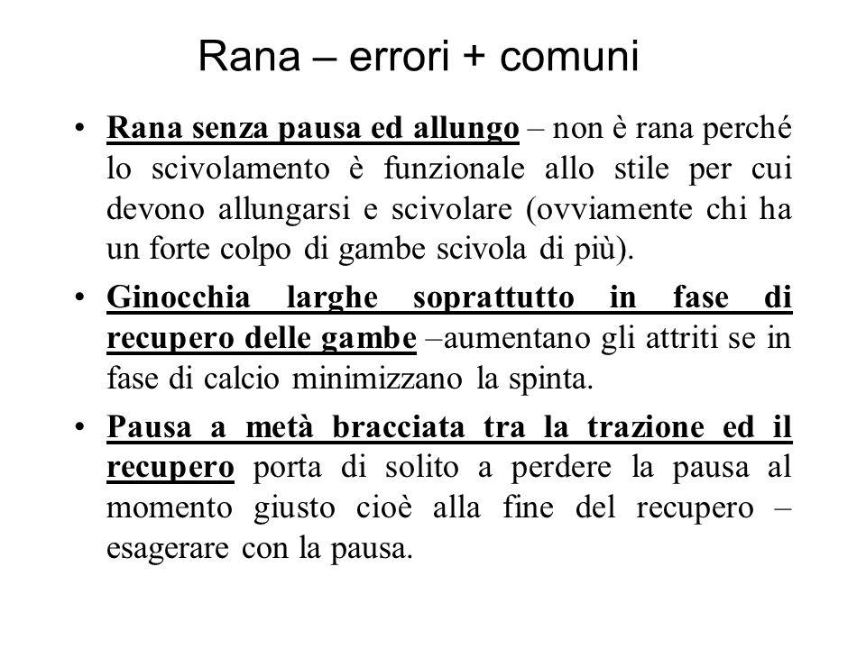 Rana – errori + comuni Rana senza pausa ed allungo – non è rana perché lo scivolamento è funzionale allo stile per cui devono allungarsi e scivolare (ovviamente chi ha un forte colpo di gambe scivola di più).