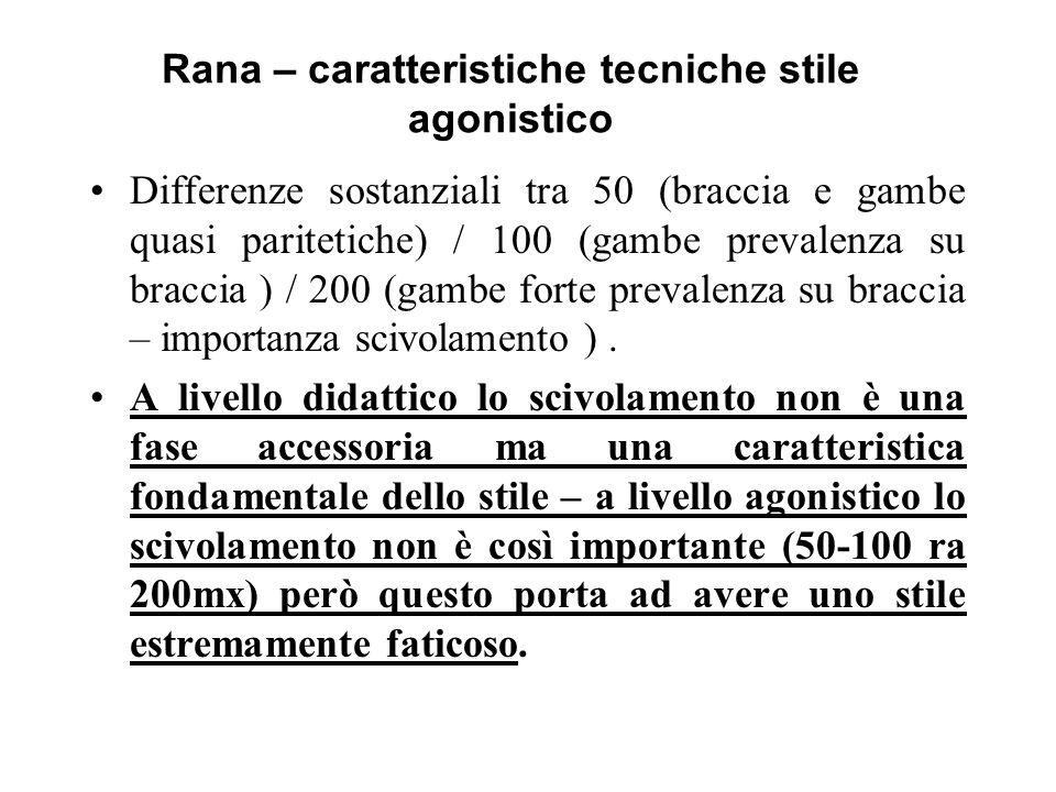 Rana – caratteristiche tecniche stile agonistico Differenze sostanziali tra 50 (braccia e gambe quasi paritetiche) / 100 (gambe prevalenza su braccia ) / 200 (gambe forte prevalenza su braccia – importanza scivolamento ).