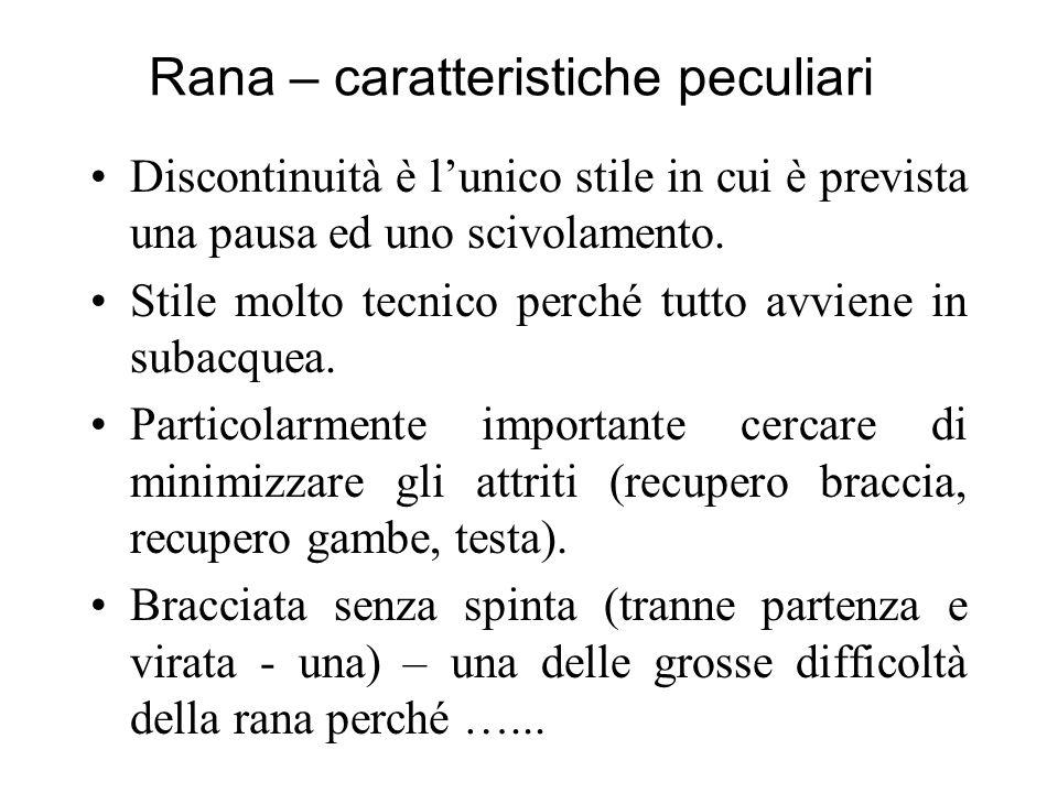Rana – caratteristiche peculiari Discontinuità è lunico stile in cui è prevista una pausa ed uno scivolamento.