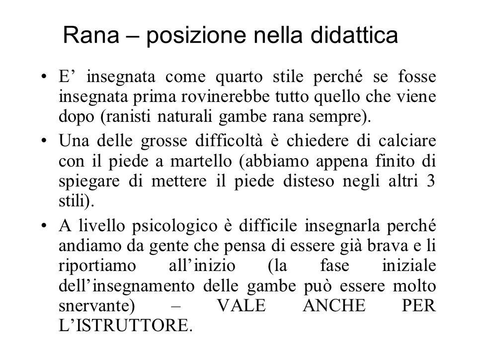 Rana – posizione nella didattica E insegnata come quarto stile perché se fosse insegnata prima rovinerebbe tutto quello che viene dopo (ranisti naturali gambe rana sempre).
