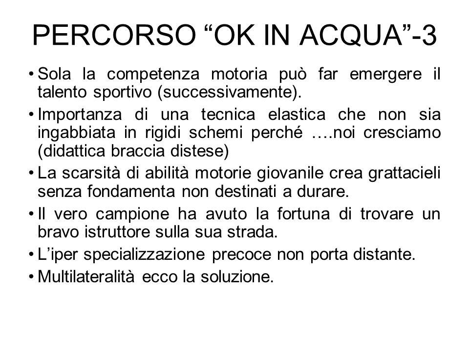 PERCORSO OK IN ACQUA-3 Sola la competenza motoria può far emergere il talento sportivo (successivamente). Importanza di una tecnica elastica che non s