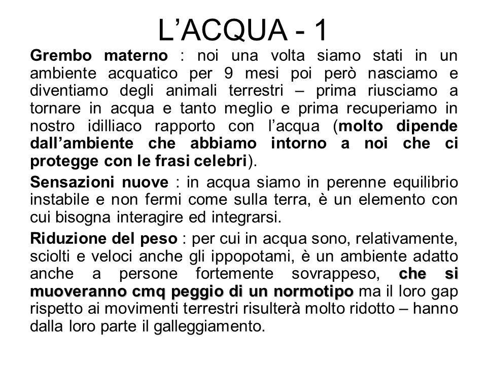 LACQUA - 1 Grembo materno : noi una volta siamo stati in un ambiente acquatico per 9 mesi poi però nasciamo e diventiamo degli animali terrestri – pri