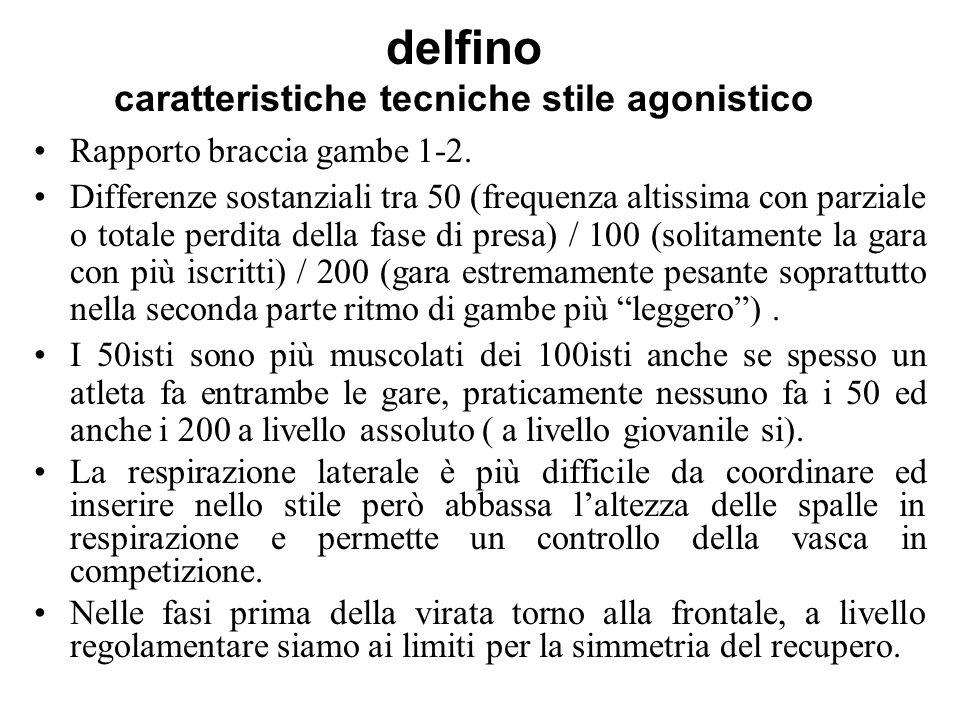 delfino caratteristiche tecniche stile agonistico Rapporto braccia gambe 1-2. Differenze sostanziali tra 50 (frequenza altissima con parziale o totale