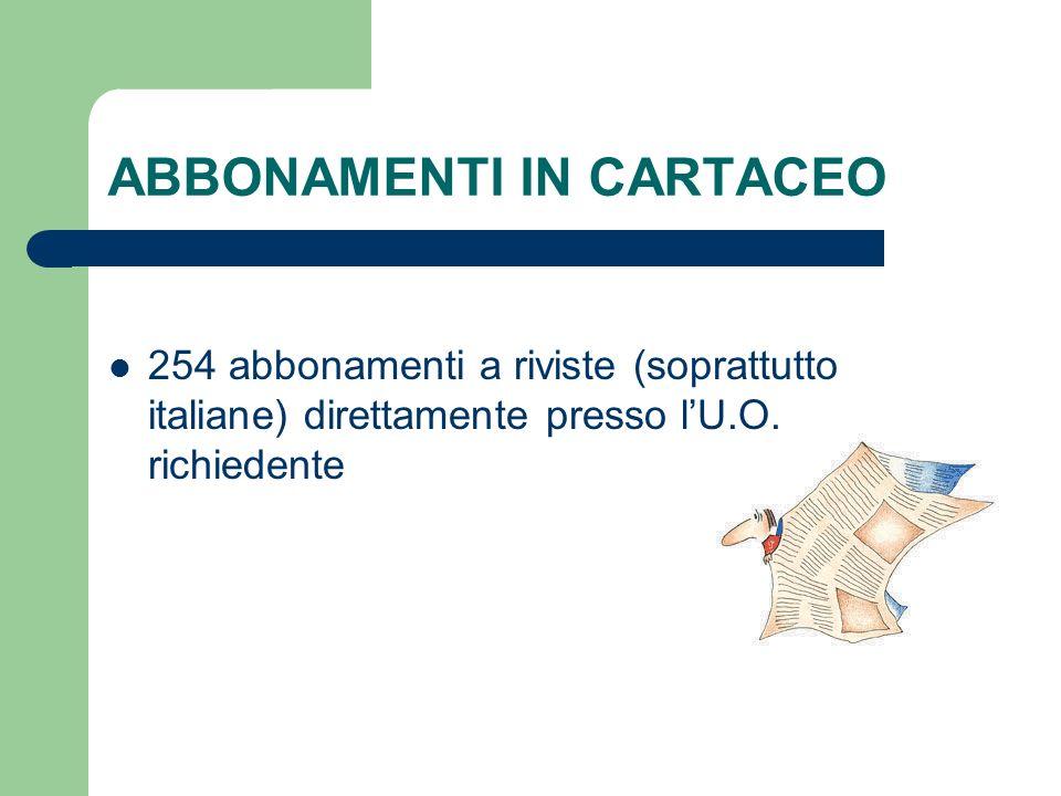 ABBONAMENTI IN CARTACEO 254 abbonamenti a riviste (soprattutto italiane) direttamente presso lU.O. richiedente