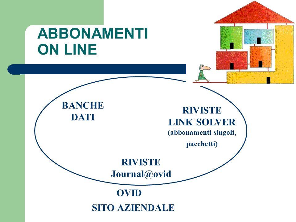 ABBONAMENTI ON LINE OVID BANCHE DATI RIVISTE Journal@ovid RIVISTE LINK SOLVER (abbonamenti singoli, pacchetti) SITO AZIENDALE