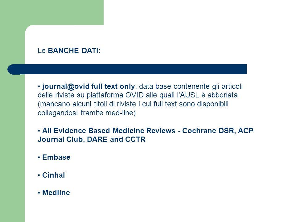 Le BANCHE DATI: journal@ovid full text only: data base contenente gli articoli delle riviste su piattaforma OVID alle quali lAUSL è abbonata (mancano