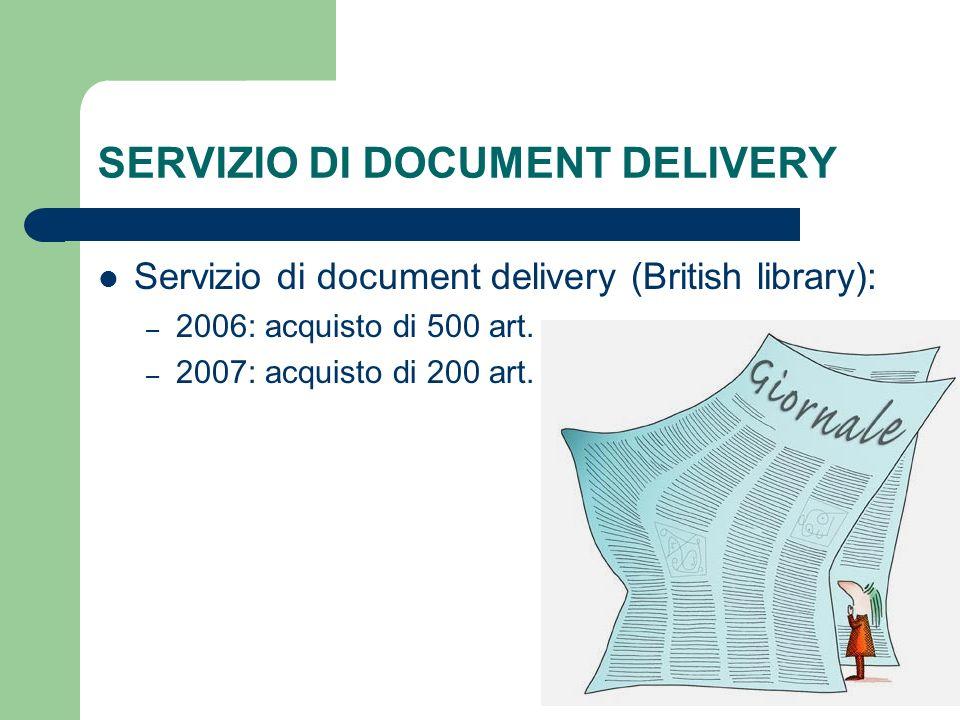 SERVIZIO DI DOCUMENT DELIVERY Servizio di document delivery (British library): – 2006: acquisto di 500 art. – 2007: acquisto di 200 art.