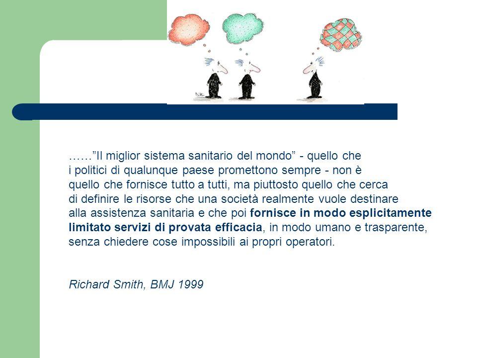 Attuale distribuzione delle tipologie di interventi sanitari