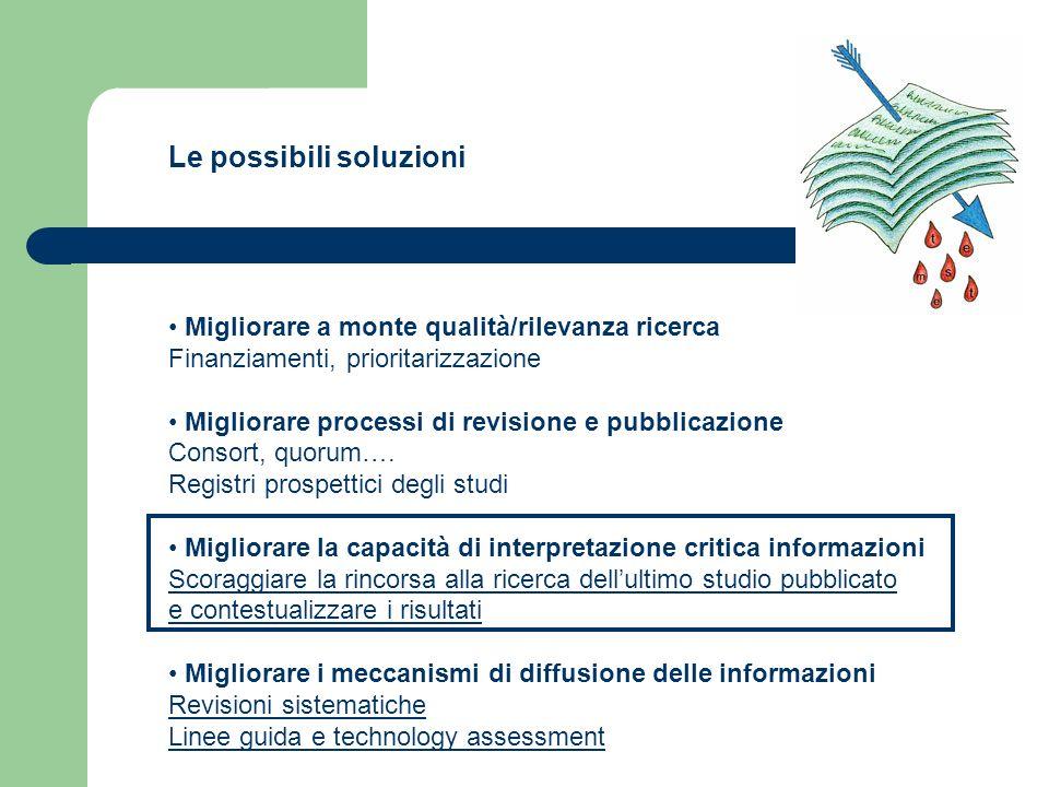 Le possibili soluzioni Migliorare a monte qualità/rilevanza ricerca Finanziamenti, prioritarizzazione Migliorare processi di revisione e pubblicazione