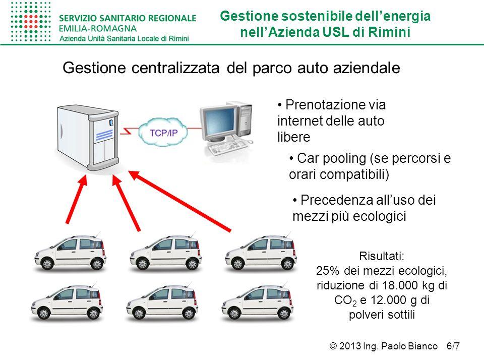 Gestione sostenibile dellenergia nellAzienda USL di Rimini © 2013 Ing. Paolo Bianco 6/7 Gestione centralizzata del parco auto aziendale Prenotazione v