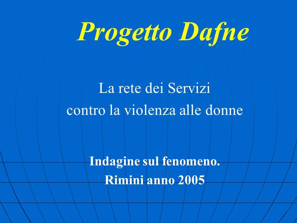 Progetto Dafne La rete dei Servizi contro la violenza alle donne Indagine sul fenomeno.