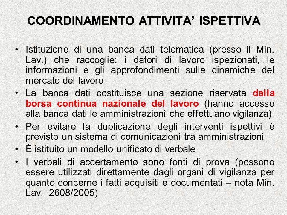 COORDINAMENTO ATTIVITA ISPETTIVA Istituzione di una banca dati telematica (presso il Min. Lav.) che raccoglie: i datori di lavoro ispezionati, le info