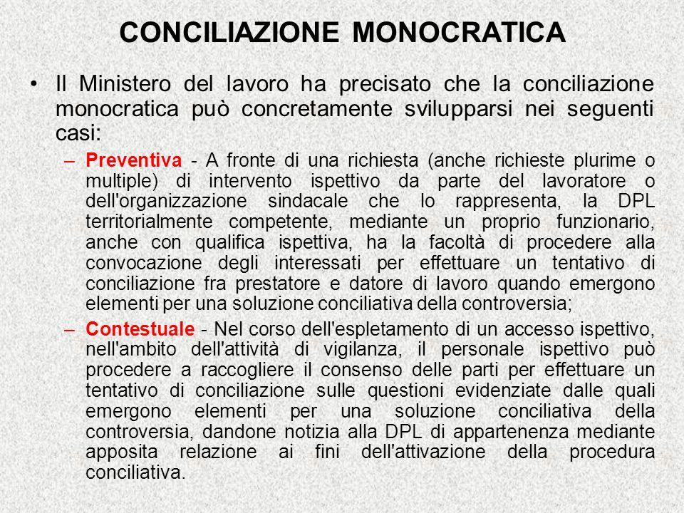 CONCILIAZIONE MONOCRATICA Il Ministero del lavoro ha precisato che la conciliazione monocratica può concretamente svilupparsi nei seguenti casi: –Prev