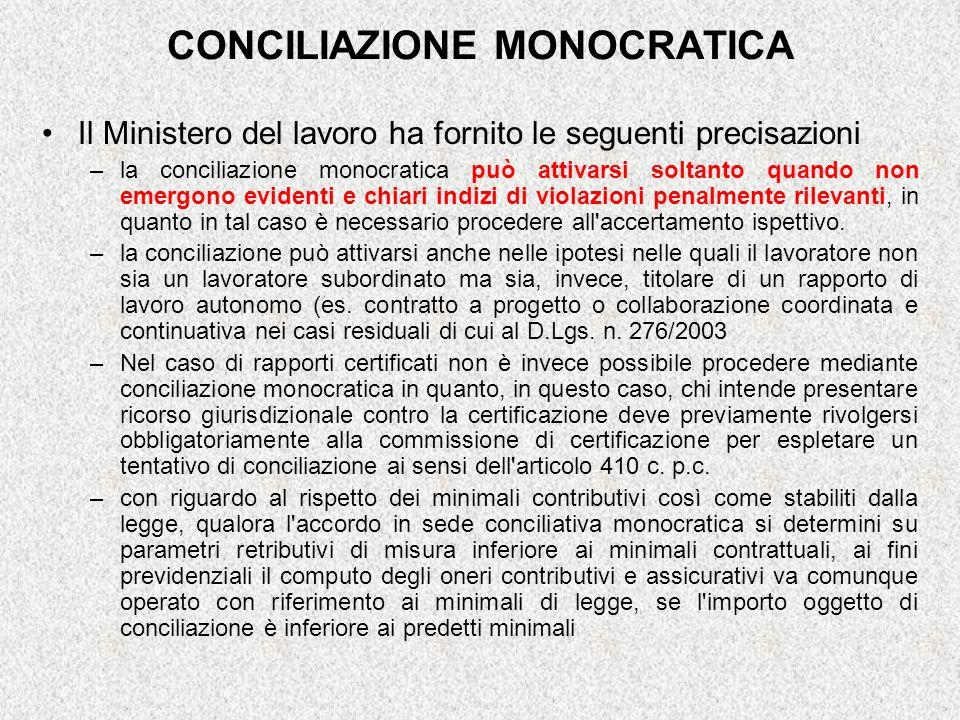 CONCILIAZIONE MONOCRATICA Il Ministero del lavoro ha fornito le seguenti precisazioni –la conciliazione monocratica può attivarsi soltanto quando non