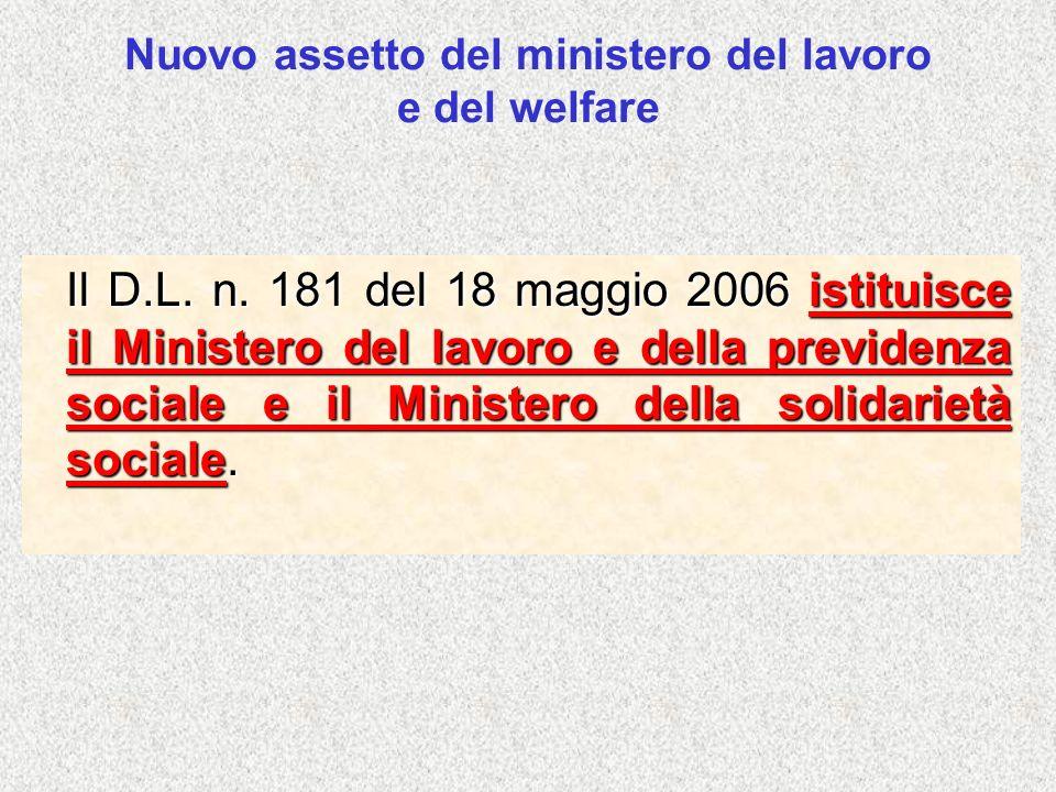 Nuovo assetto del ministero del lavoro e del welfare Il D.L. n. 181 del 18 maggio 2006 istituisce il Ministero del lavoro e della previdenza sociale e
