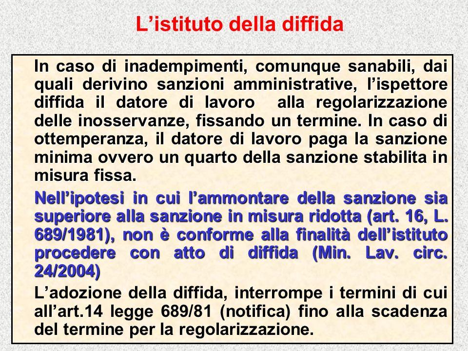 Listituto della diffida In caso di inadempimenti, comunque sanabili, dai quali derivino sanzioni amministrative, lispettore diffida il datore di lavor