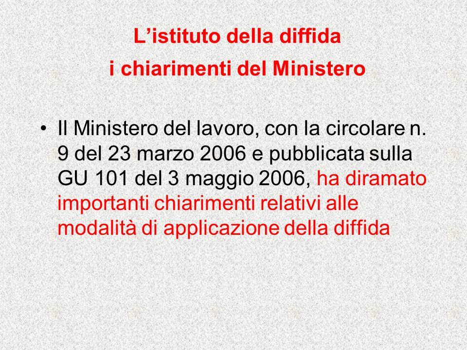 Listituto della diffida i chiarimenti del Ministero Il Ministero del lavoro, con la circolare n. 9 del 23 marzo 2006 e pubblicata sulla GU 101 del 3 m